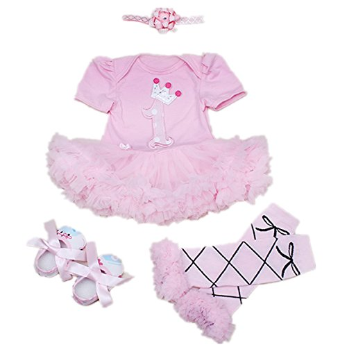 WINMI® Baby Girls' Newborn 1st Birthday Onesie Costume Outfits Tutu Dress 4PCs (S)