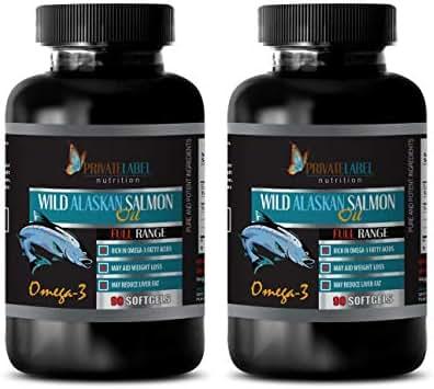 Brain Booster and Memory Enhancer - Wild Alaskan Salmon Oil - Rich in Omega-3 Fatty ACIDS - Wild Alaskan Salmon Oil Capsules for Humans - 2 Bottles 180 Softgels