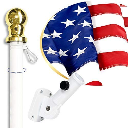 American Flag Kit Includes: 6ft Spinning Flagpole, 3x5 Embroidered US Flag, Adjustable Wall Mount Flag Holder, Commercial Residential Indoor Outdoor Use | US Flag Kit, White - Outdoor Flag Kit