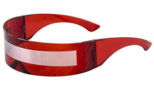 Futuristic Robot Costume (Futuristic Shield Sunglasses Space Alien Costume Party Cyclops Colored Mirror Mono Lens Wrap Sunglasses 140mm (Red-Silver Mirror, 140))