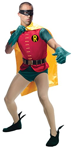 UHC Men's Grand Heritage Robin Outfit Dc Comics Fancy Dress Halloween Costume, OS (42-44)