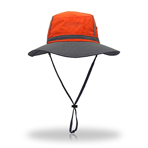 FayTop Unisex UPF 50+ Boonie Hat Outdoor Sun Hat Fishing Hats Bucket Hats Wide Brim Sun Protection Hat B16015-orange