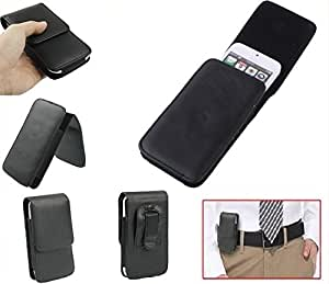 DFV mobile - Leather Flip Belt Clip Case Holster Vertical for => OPPO Neo 5 > Black