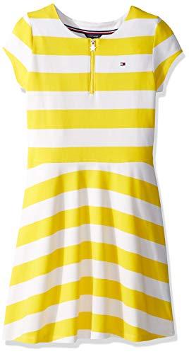 (Tommy Hilfiger Big Girl's Big Stripe Short Sleeve Dress, rugby empire yellow, L12/14)