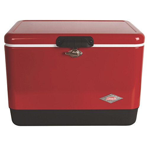 Coleman Steel-Belted Portable Cooler, 54 Quart, Red by Coleman