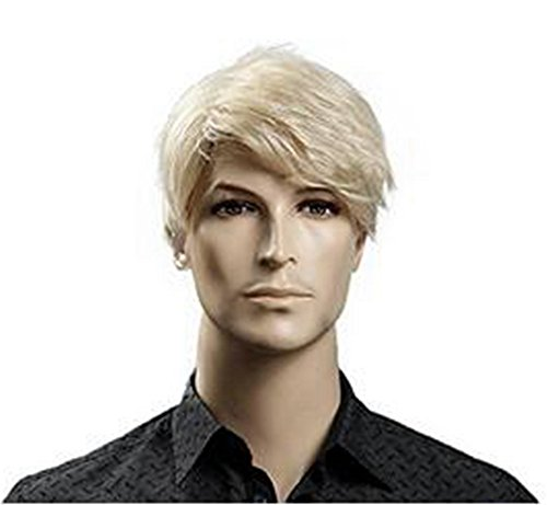 Diy-Wig Fashion Men Short Straight Blonde Wigs Natural Synthetic Hair Full Head Wig 9.5 Inches