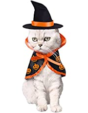 Halloween Cat Pet Wizard Costume Cats Small Dogs Clothes Outfit Witch Cape with Hats Pets Costume Apparel for Kitten Puppy for Birthday Cosplay Halloween Eve Party