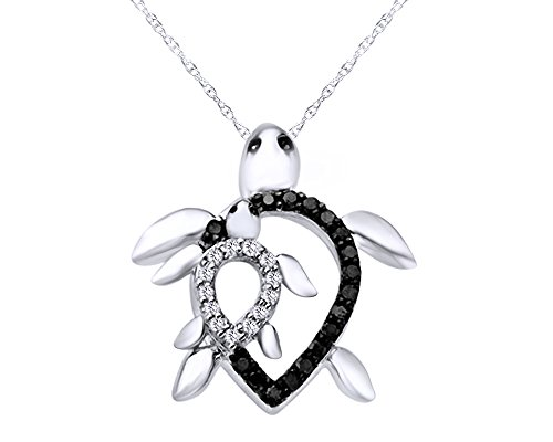 Wishrocks 1/8 CT Black and White Real Diamond Motherly Love Turtle Pendant in 14K Gold Over Sterling ()