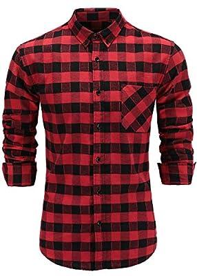 GoldCut Men's Flannel Cotton Slim Fit Long Sleeve Button-Down Plaid Dress Shirts