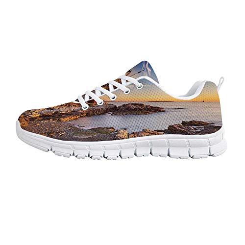 YOLIYANA United States Fashion Gym Shoes,Cape Elizabeth Maine River Portland Lighthouse Sunrise USA Coast Scenery Sneakers for Girls Womens,US Size 8