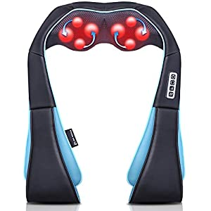 8 DEEP TISSUE KNEADING NODES: Shoulder and neck massager offers you a relaxed state. 8 kneading massage nodes provide deep massage to your tissues and muscles which give you a soothing and relaxing experience to your strained muscles whether it is due to physical strain or mental stress SOOTHING HEATING MASSAGE: With infrared heating, our massager provides the comfortable warmness to ease muscle tension and stress. Back massager can massage your neck, shoulders, upper back, lower back, waist, foot, tights, calves, legs, feet and arms. The optional heat function that provides warmness and gentle heat helps in improving the blood circulation and relieving body aches, cramps and tensions ADJUSTABLE SPEED AND DIRECTION CONTROL: This ergonomically designed neck massager has three adjustable strength levels (slow, medium and fast) which helps you enjoy a comfortable relaxing according to your personal preference. Press the direction button to change the direction. Or rest easy, the massager will change direction by itself every minute to ensure a thorough massage and automatically shuts off in 15 minutes in case you are falling in sleep