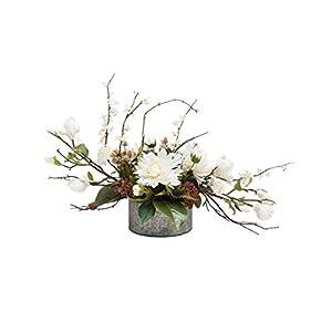 Petals Magnolia & Dahlia Silk Flower Centerpiece 10