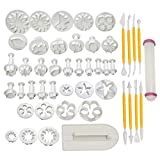 Soleebee 46 Pcs Cake Decorating Tools Fondant Cake Baking Decorating Sugar Craft Icing Tools Plunger Cutters Flower Moulds Set Rolling Pin Equipment Accessories