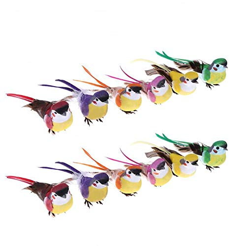(lwingflyer 12pcs Artificial Feather Birds Foam Mini Love Birds for Home Ornaments Wedding Embellishing Craft Garden Decoration with Metal Clip 15cm/5.9inch )