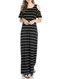Women Jersey Cold Shouder Stripe Print Casual Party Long Maxi Tank Dress