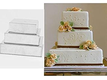 3 étages professionnel résistant carré pour gâteau de mariage boîtes 15,2  cm 20,