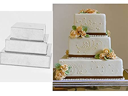 3 TIER PROFESSIONAL HEAVY DUTY SQUARE WEDDING CAKE TINS 6\