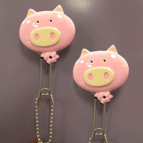 Animal Shape Wall Hook(set of 2)- Pig Animal Shape Wall Hook