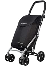 Carlett Lett430 Practical Deluxe Folding 6 Wheel Swivel Shopping Trolley with Park Brake, Black