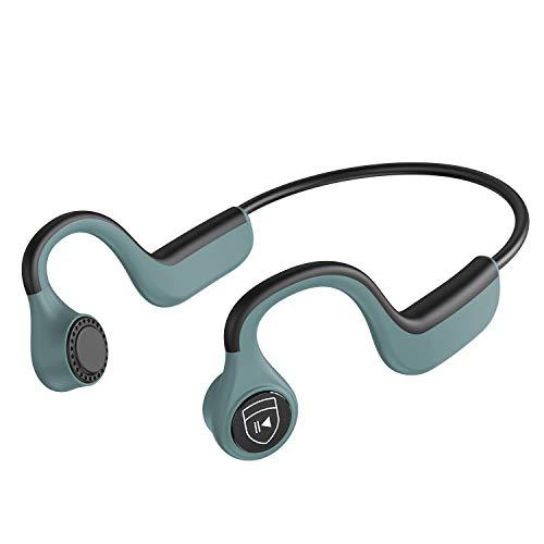 IYY Bone Conduction Headphones Wireless Bluetooth Earphones IP55 Waterproof Sports Open-Ear Headsets for Running Driving Cycling Meeting (Green)