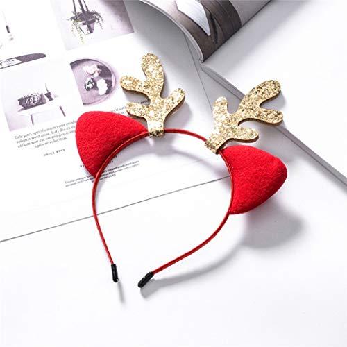 Ear Antler Hairbands Cartoon for Girls Bezel Headband Hair Band Women Children Hair Hoop Party Christmas (Red,-) -