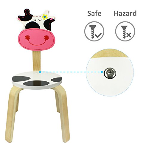 iPlay, iLearn Cow Wood Stackable School Chair for Classroom, Playroom, Daycare, Nuresery - Learning Furniture Set Wooden Animal Stool and Seat for Kids, Toddlers, Children, Boys and Girls