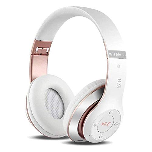 6S Wireless Headphones Over Ear,Noise Cancelling Foldable Wireless Stereo Headsets Earbuds with Built-in Mic, Micro SD/TF, FM for iPhone/Samsung/iPad/PC (White & Rose Gold)