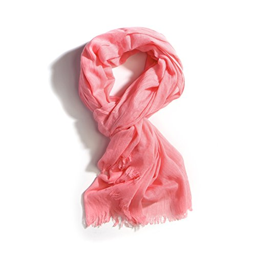 Women's All Season Solid Color Light Weight Oblong Large Scarf Shawl(3111-Pink)