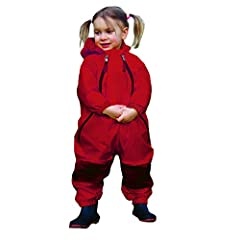 These unique waterproof coveralls offer toddlers full-body coverage and protection from the rain and elements.