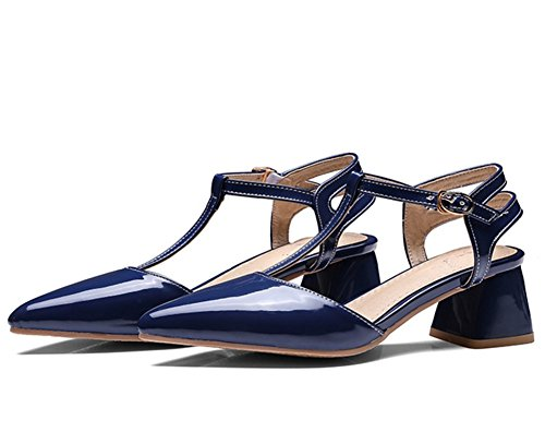 Easemax Womens Sexy Mid Block Heel Pointed Toe Ankle Buckle Straps Sandals Blue xt0Ke1y