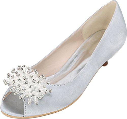 Toe Work Comfort Ladies Kitten Fashion Heel 37 Wedding Silver 5 Peep Dress Bridesmaid Bride Sandals EU Satin 0700 Prom Party Smart 01K 7vWfwO5qxF