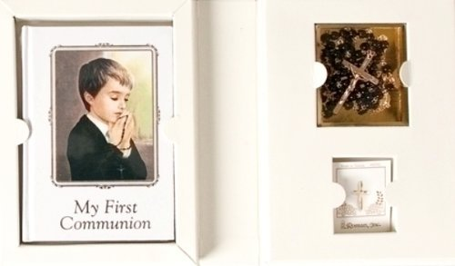 Communion Folder 4 Piece Gift Set for Boy - Includes Prayer Book, Rosary with Box and Pin