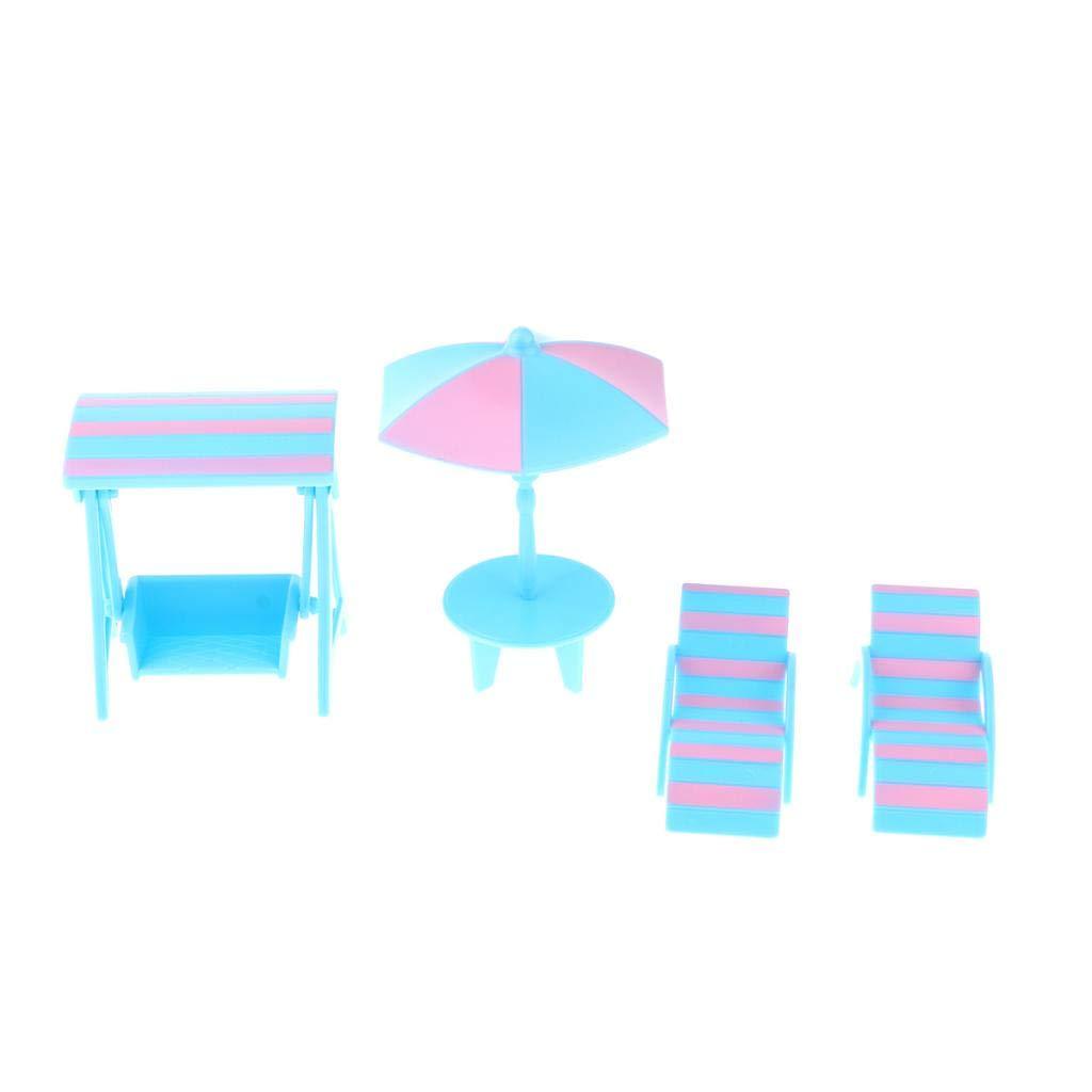 Altalena Per Piscina Per Bambole Fenteer 4pcs Dollhouse Beach Accessori Mini Sedie A Sdraio A Strisce Tavolo Da Spiaggia Con Ombrellone Bambole E Accessori Com Mini Bambole E Accessori