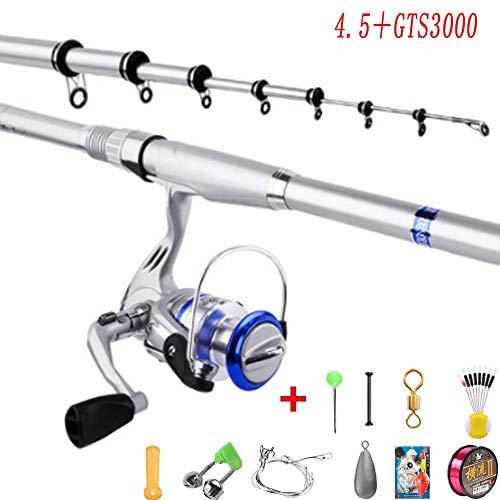 VWBQ Telescopic Fishing Rod Reel Combos, Spinning Rod Reel Combo, Carbon Fiber Fishing Pole Reel, with Fishing Accessories for Sea/Lake/Adult(4.5 M / 14.7 Ft + GTS3000 Reel)