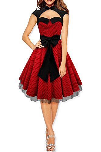 BlackButterfly Athena' Polka Dot Large Bow Dress (Red, US 4) (Athena Sleeveless)