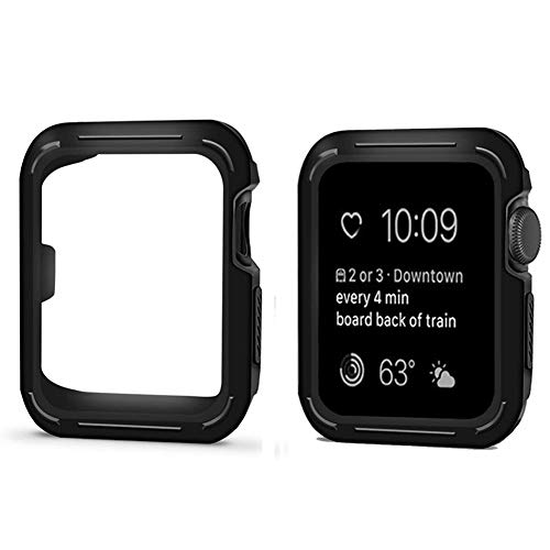 COOL SKY for Apple Watch Case 42mm, Shock-Proof and Shatter-Resistant Rugged Armor Apple Watch Protector iwatch Bumper for Apple Watch Series 3, Series 2, Series 1, Nike+, Sport, Edition(Black - Bumper Cool