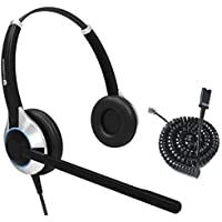Deluxe Double Ear Noise Canceling Headset and QD U10PS cable For Yealink SIP-T19P T20P T21P T22P T26P T28P T32G T41P T38G T42G T46G T48G, Snom and Grandstream IP Phone