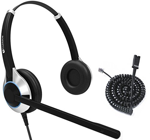 TruVoice HD-550 Deluxe Double Ear Noise Canceling Office / Call Center Headset With U10P Bottom Cable works with Mitel, Nortel, Avaya Digital, Polycom VVX, Shoretel, Aastra + Many More