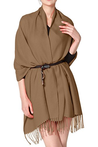 FESMEY Cashmere feel scarf wraps shawl warm plain long scarf for women soft oversized pashmina scarf Dark Camel