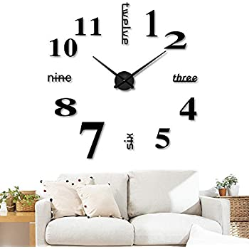 3D DIY Wall Clock Decor Sticker Mirror ixaer Frameless Large 3D Acrylic Mirror Sticker Clock Battery Operated Decorative Kit for Living Room Bedroom Fashion ...