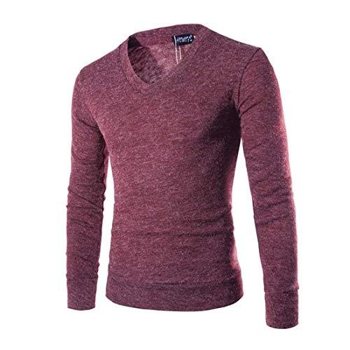 En Punto V Hombre Sólido Para Invierno Camisas Manga Winered E Color Larga Redondo Cuello Suéter Moda Liso Otoño De Con BgBqPz8x