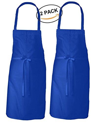 Adult Men S Women S Unisex Chefs Bistro Adjustable Extra Long Ties  Professional Commercial Grade Bib Apron   Blue   2 Pk