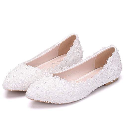 1c11ecc41ed38 Amazon.com: Pearls Flat Wedding Shoes For Bride 3D Floral Appliqued ...