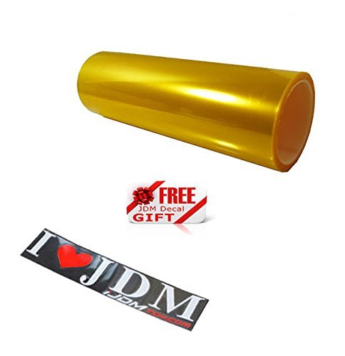- iJDMTOY 12 by 48 inches Self Adhesive JDM Golden Yellow Headlights or Fog Lights Tint Vinyl Film