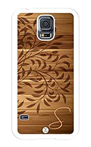 Samsung Galaxy S5 Case Monogram Personalized Leaves on Wood Pattern RUBBER CASE - Fits Samsung Galaxy S5 T-Mobile, Sprint, Verizon and International (Black)