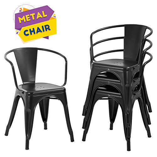 Dining Chairs Set of 4 Indoor Outdoor Chairs Patio Chairs Furniture Kitchen Metal Chairs 18 Inch Seat Height Restaurant Chair Tolix Side Metal Stackable Bar Chairs 330LBS Weight Capacity