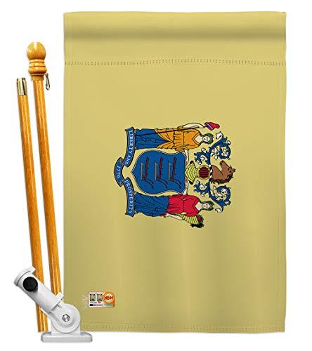 Americana Home & Garden HS140531-BO New Jersey Americana States Decorative Vertical House Flag Set, 28
