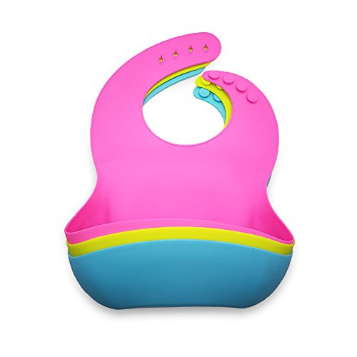 Baby Silicone Adjustable Feeding Bibs With Food Catcher, Waterproof, Easy Clean, Food Safe, Bpa Free (Available in 6 Colors)