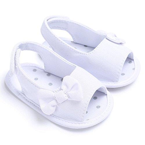 Pueri Sandalias Niñas Sandalias Lazo de Verano Zapatos Primer Paso Recién Nacido Blanco