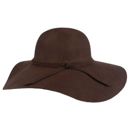 FUNOC Fashion Vintage Women Ladies Floppy Wide Brim Wool Felt Fedora Cloche Hat (Brown Felt Hat)